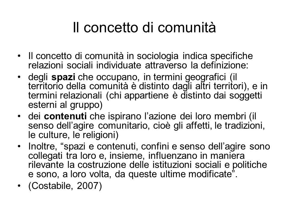 Il concetto di comunità Il concetto di comunità in sociologia indica specifiche relazioni sociali individuate attraverso la definizione: degli spazi c