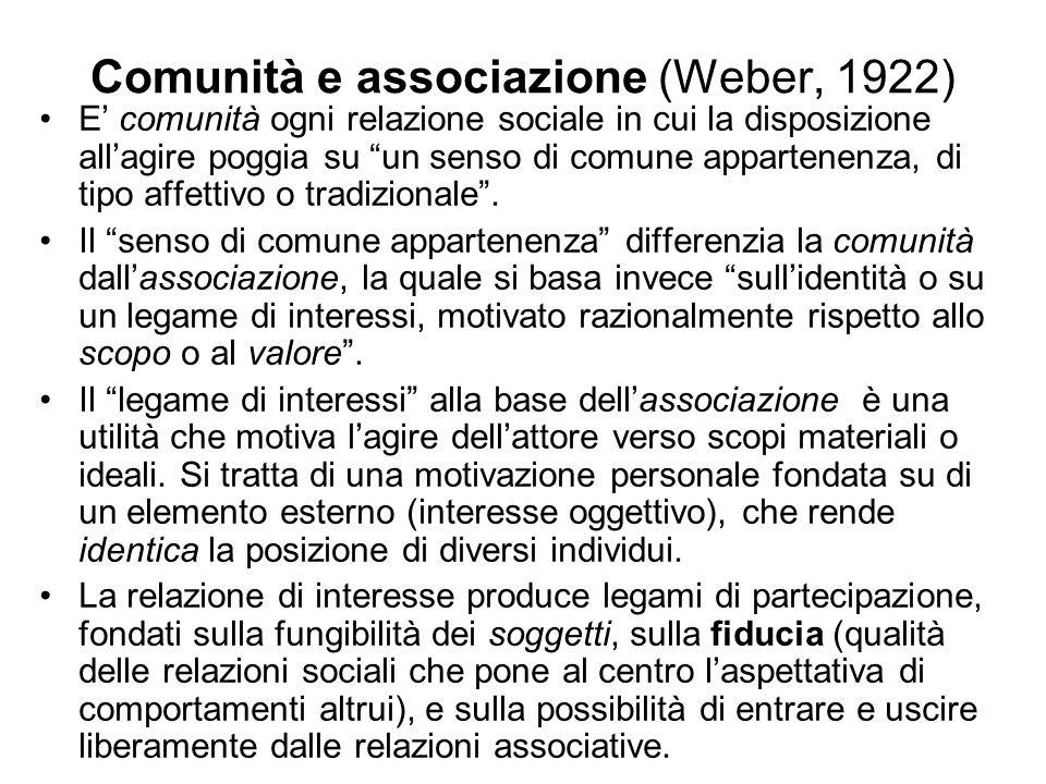 Comunità e associazione (Weber, 1922) E comunità ogni relazione sociale in cui la disposizione allagire poggia su un senso di comune appartenenza, di