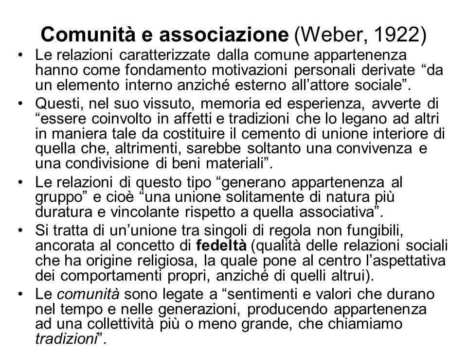 Comunità e associazione (Weber, 1922) Le relazioni caratterizzate dalla comune appartenenza hanno come fondamento motivazioni personali derivate da un