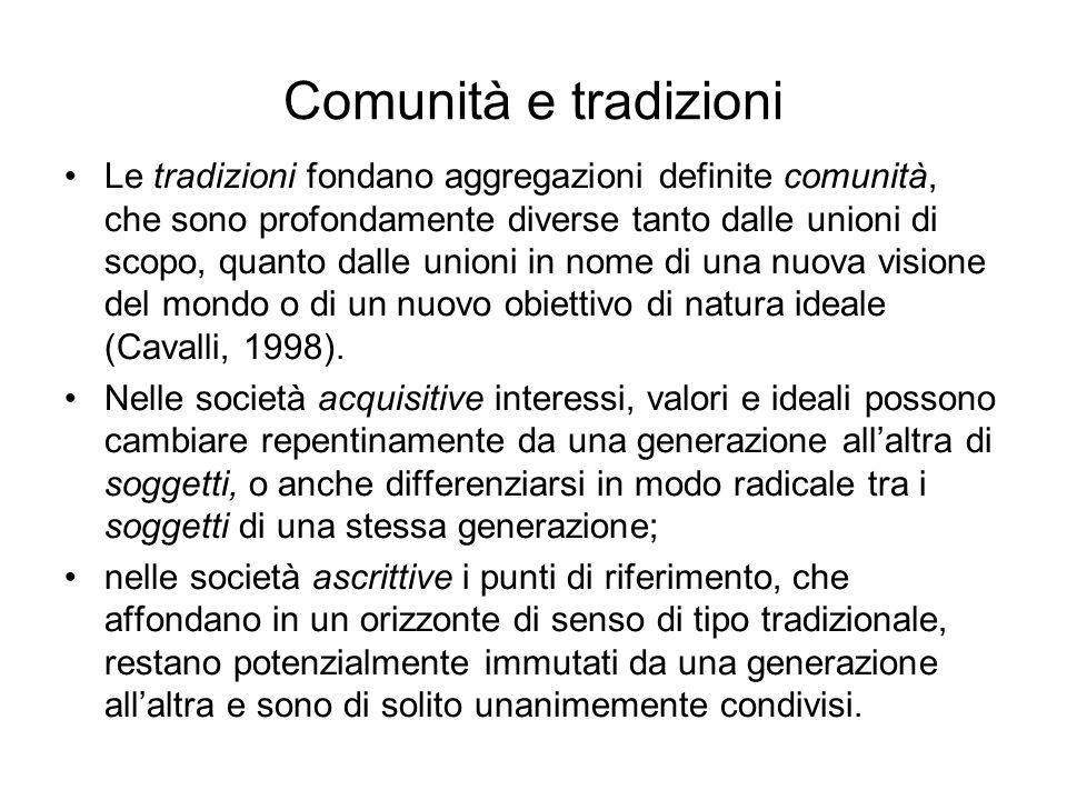 Comunità e tradizioni Le tradizioni fondano aggregazioni definite comunità, che sono profondamente diverse tanto dalle unioni di scopo, quanto dalle u