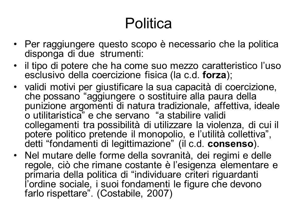 Politica Per raggiungere questo scopo è necessario che la politica disponga di due strumenti: il tipo di potere che ha come suo mezzo caratteristico l