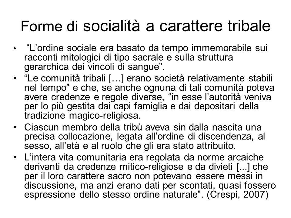 Forme di socialità a carattere tribale Lordine sociale era basato da tempo immemorabile sui racconti mitologici di tipo sacrale e sulla struttura gera