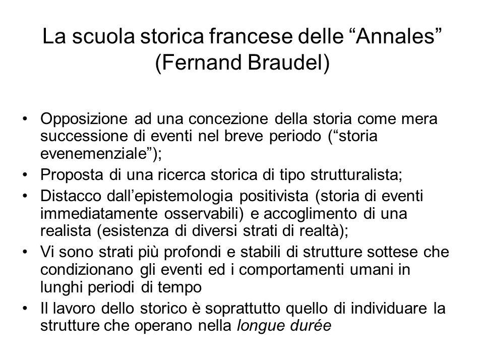 La scuola storica francese delle Annales (Fernand Braudel) Opposizione ad una concezione della storia come mera successione di eventi nel breve period