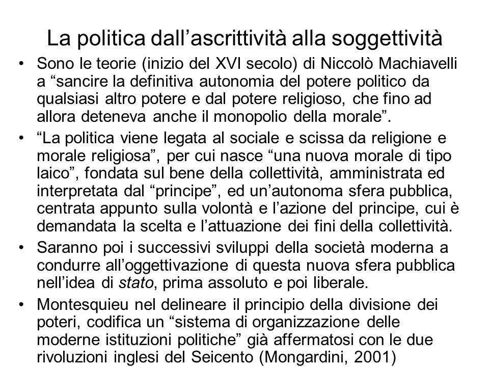 La politica dallascrittività alla soggettività Sono le teorie (inizio del XVI secolo) di Niccolò Machiavelli a sancire la definitiva autonomia del pot