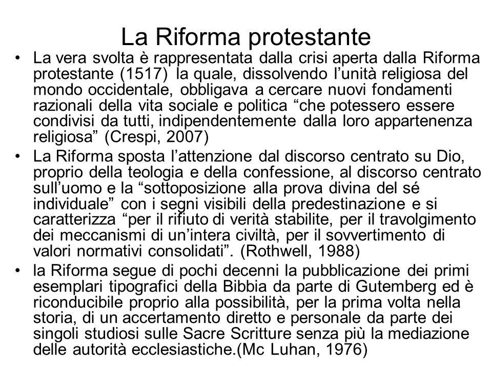 La Riforma protestante La vera svolta è rappresentata dalla crisi aperta dalla Riforma protestante (1517) la quale, dissolvendo lunità religiosa del m