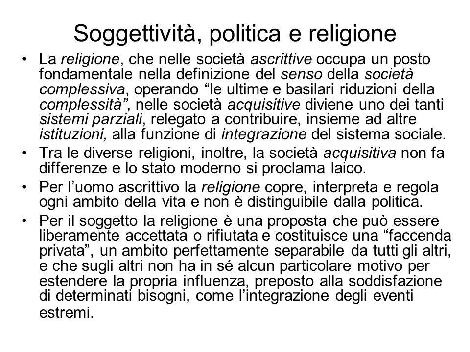 Soggettività, politica e religione La religione, che nelle società ascrittive occupa un posto fondamentale nella definizione del senso della società c