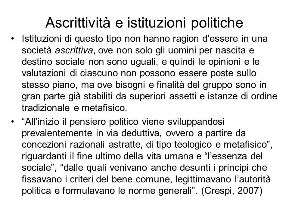 Ascrittività e istituzioni politiche Istituzioni di questo tipo non hanno ragion dessere in una società ascrittiva, ove non solo gli uomini per nascit