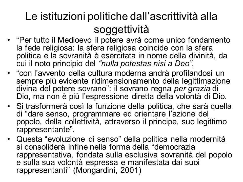Le istituzioni politiche dallascrittività alla soggettività Per tutto il Medioevo il potere avrà come unico fondamento la fede religiosa: la sfera rel