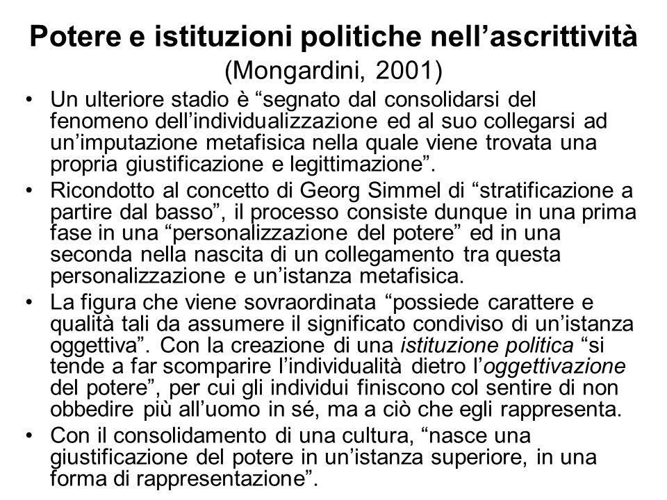 Potere e istituzioni politiche nellascrittività (Mongardini, 2001) Un ulteriore stadio è segnato dal consolidarsi del fenomeno dellindividualizzazione
