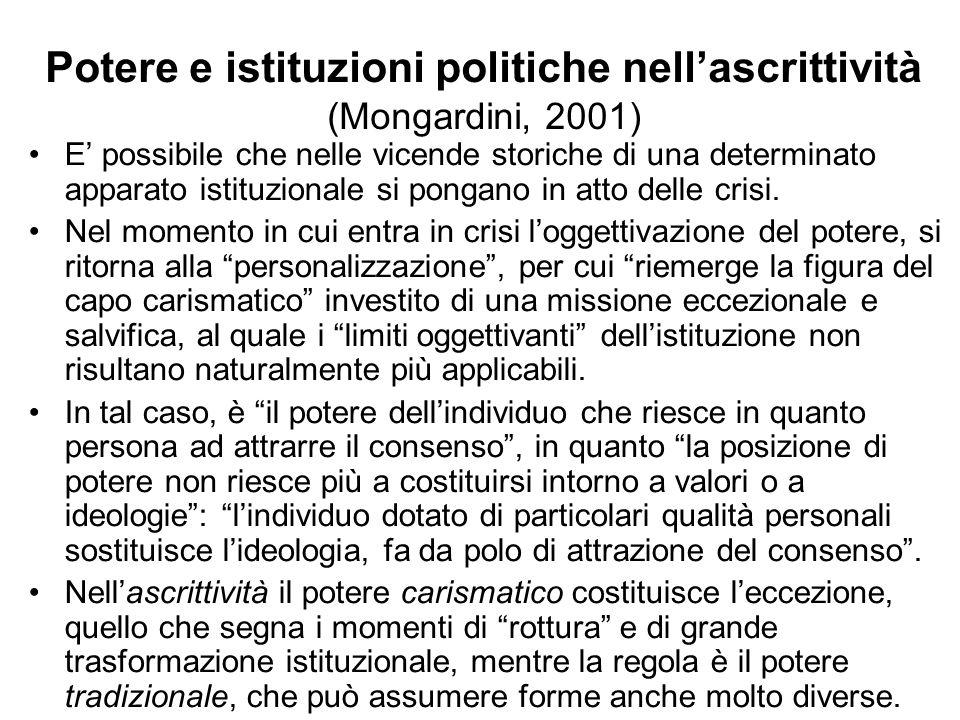 Potere e istituzioni politiche nellascrittività (Mongardini, 2001) E possibile che nelle vicende storiche di una determinato apparato istituzionale si
