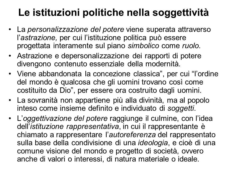 Le istituzioni politiche nella soggettività La personalizzazione del potere viene superata attraverso lastrazione, per cui listituzione politica può e