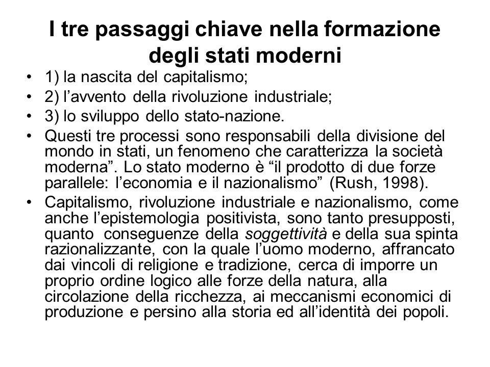 I tre passaggi chiave nella formazione degli stati moderni 1) la nascita del capitalismo; 2) lavvento della rivoluzione industriale; 3) lo sviluppo de