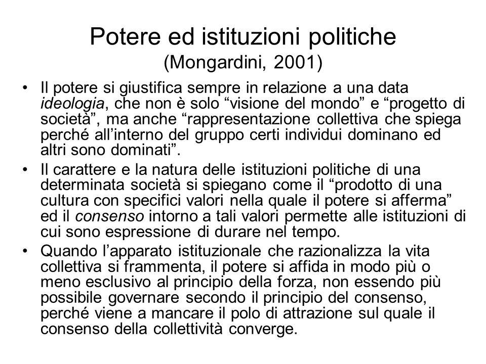 Potere ed istituzioni politiche (Mongardini, 2001) Il potere si giustifica sempre in relazione a una data ideologia, che non è solo visione del mondo