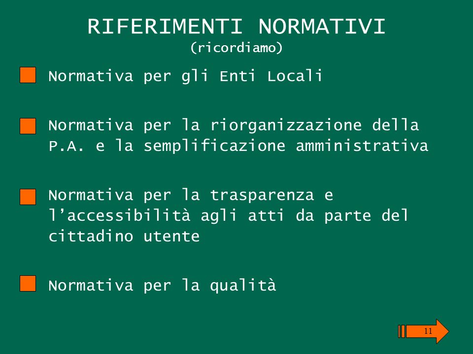 RIFERIMENTI NORMATIVI (ricordiamo) Normativa per gli Enti Locali Normativa per la riorganizzazione della P.A.