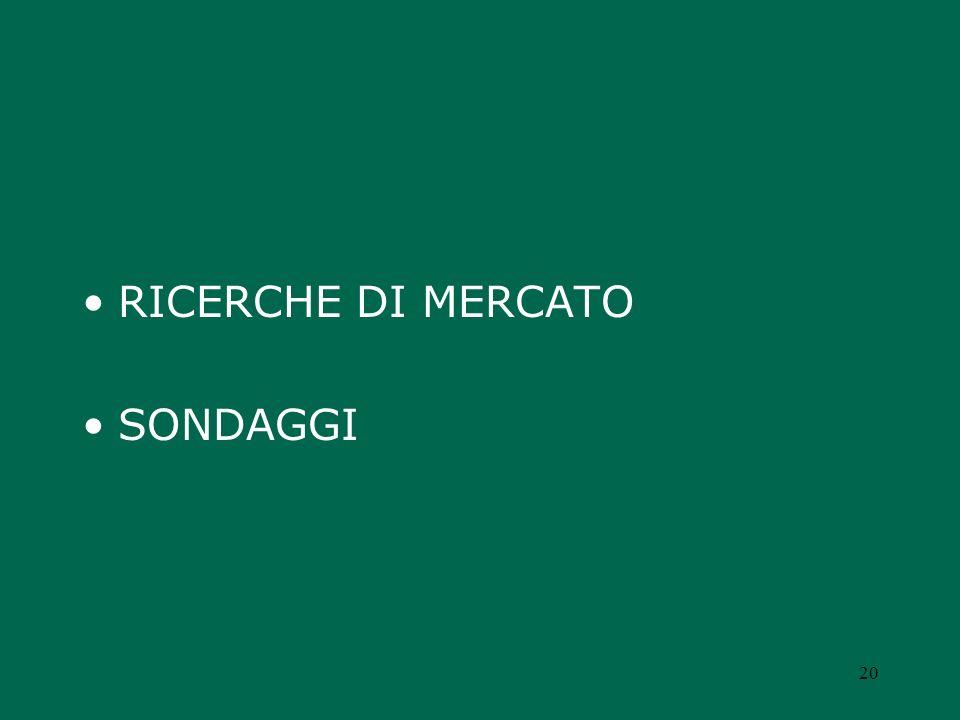 RICERCHE DI MERCATO SONDAGGI 20