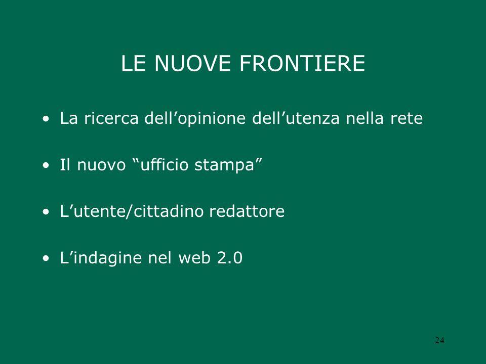 LE NUOVE FRONTIERE La ricerca dellopinione dellutenza nella rete Il nuovo ufficio stampa Lutente/cittadino redattore Lindagine nel web 2.0 24
