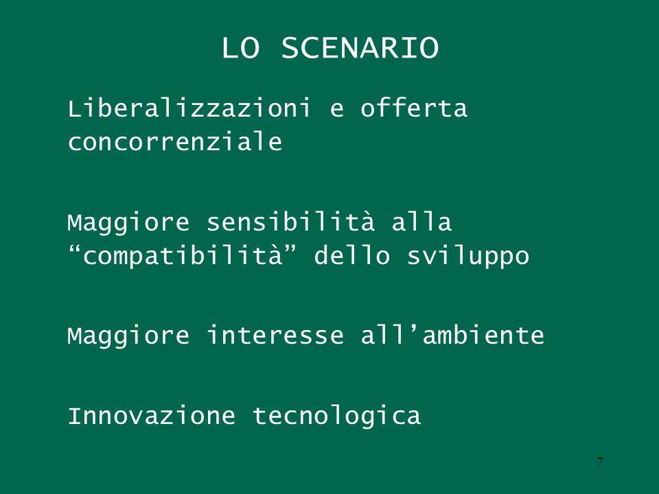 LO SCENARIO Liberalizzazioni e offerta concorrenziale Maggiore sensibilità alla compatibilità dello sviluppo Maggiore interesse allambiente Innovazione tecnologica 7
