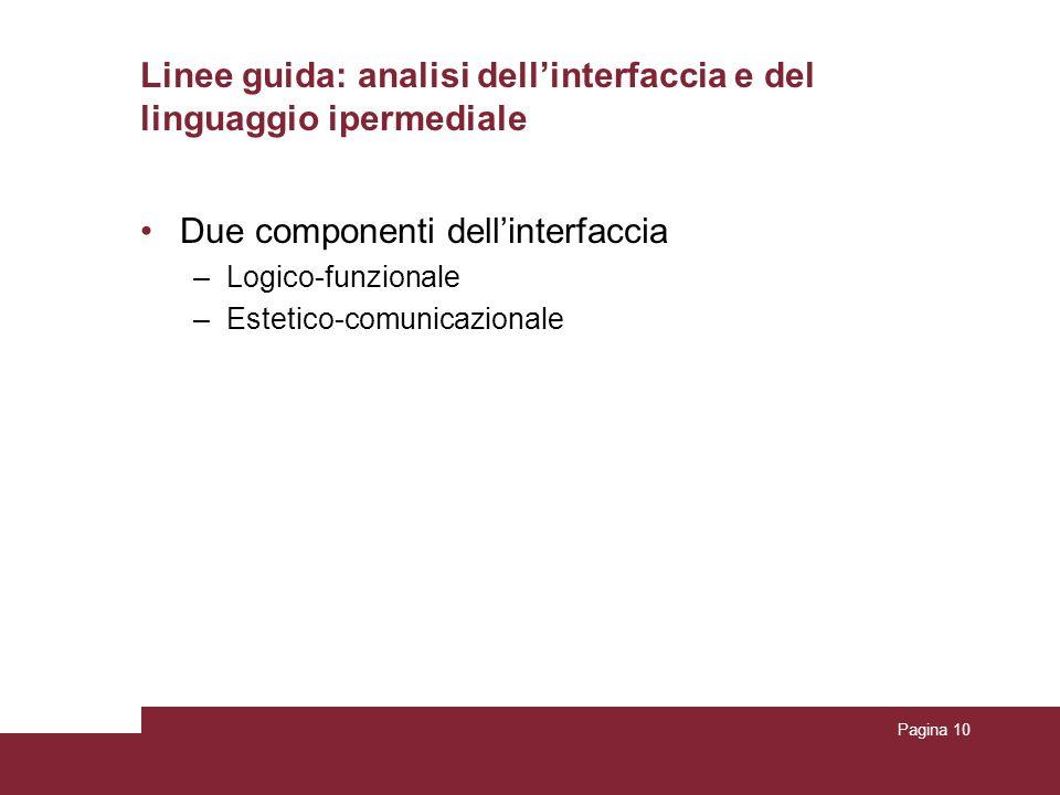 Pagina 10 Linee guida: analisi dellinterfaccia e del linguaggio ipermediale Due componenti dellinterfaccia –Logico-funzionale –Estetico-comunicazional