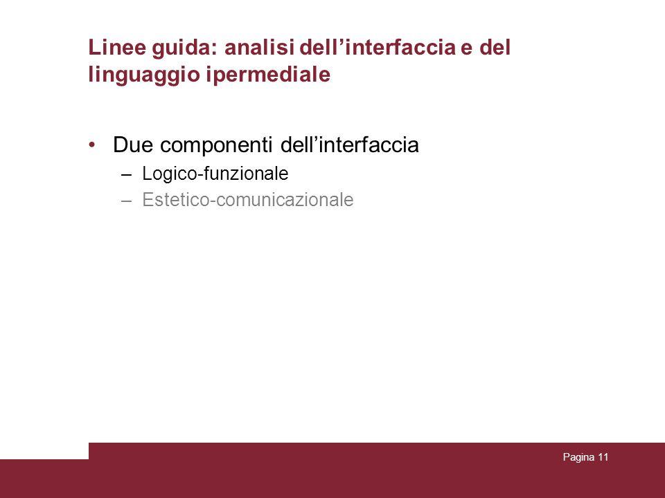 Pagina 11 Due componenti dellinterfaccia –Logico-funzionale –Estetico-comunicazionale Linee guida: analisi dellinterfaccia e del linguaggio ipermediale