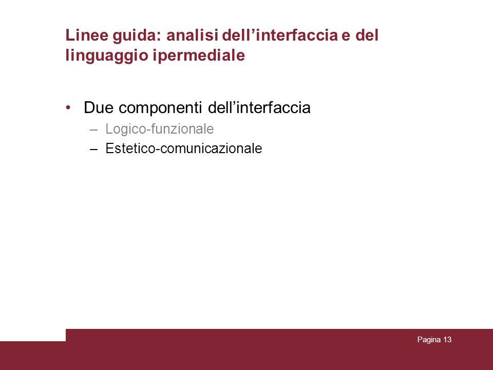 Pagina 13 Due componenti dellinterfaccia –Logico-funzionale –Estetico-comunicazionale Linee guida: analisi dellinterfaccia e del linguaggio ipermedial