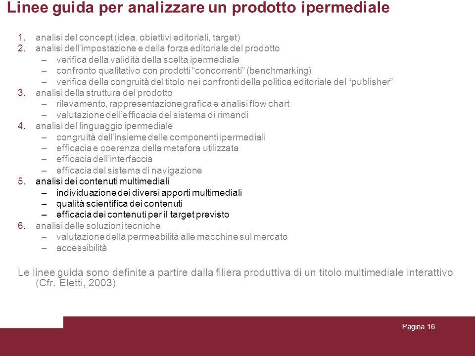 Pagina 16 Linee guida per analizzare un prodotto ipermediale 1.analisi del concept (idea, obiettivi editoriali, target) 2.analisi dellimpostazione e d