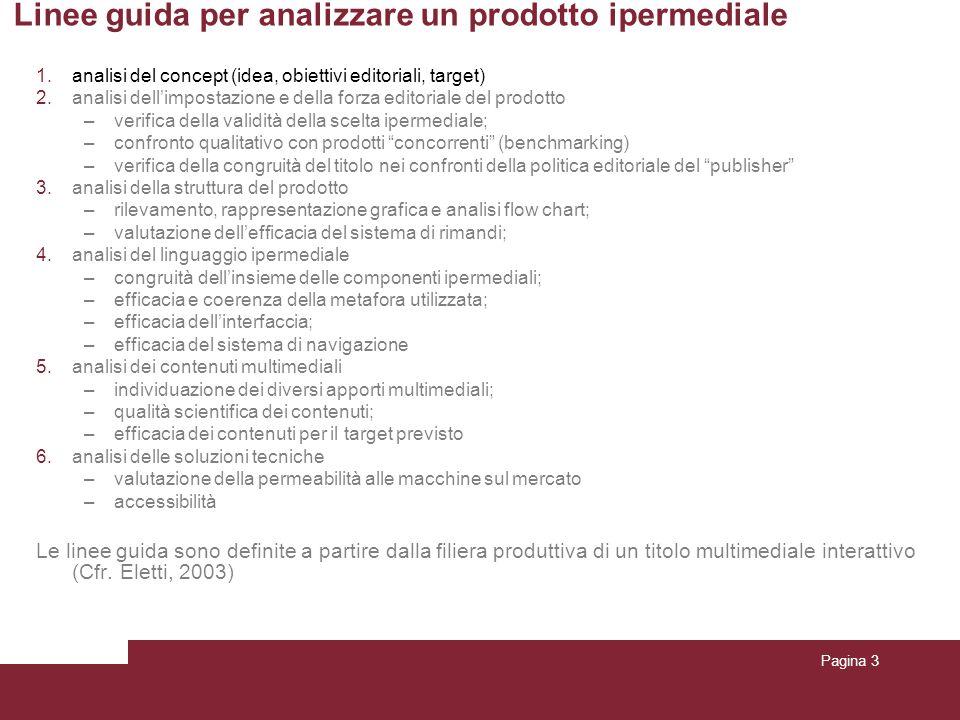 Pagina 3 Linee guida per analizzare un prodotto ipermediale 1.analisi del concept (idea, obiettivi editoriali, target) 2.analisi dellimpostazione e de