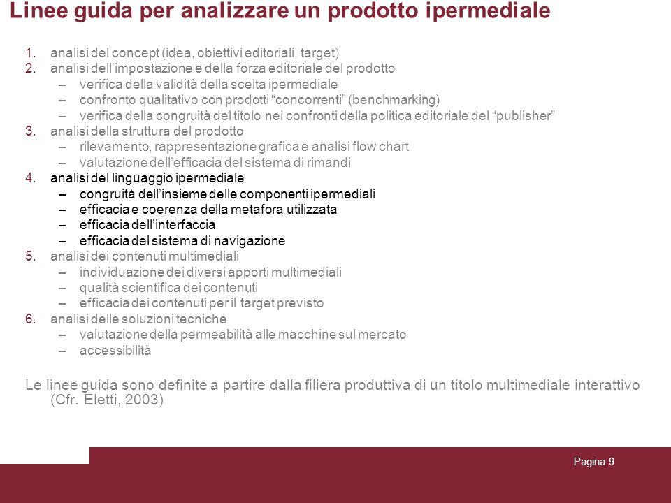 Pagina 9 Linee guida per analizzare un prodotto ipermediale 1.analisi del concept (idea, obiettivi editoriali, target) 2.analisi dellimpostazione e de