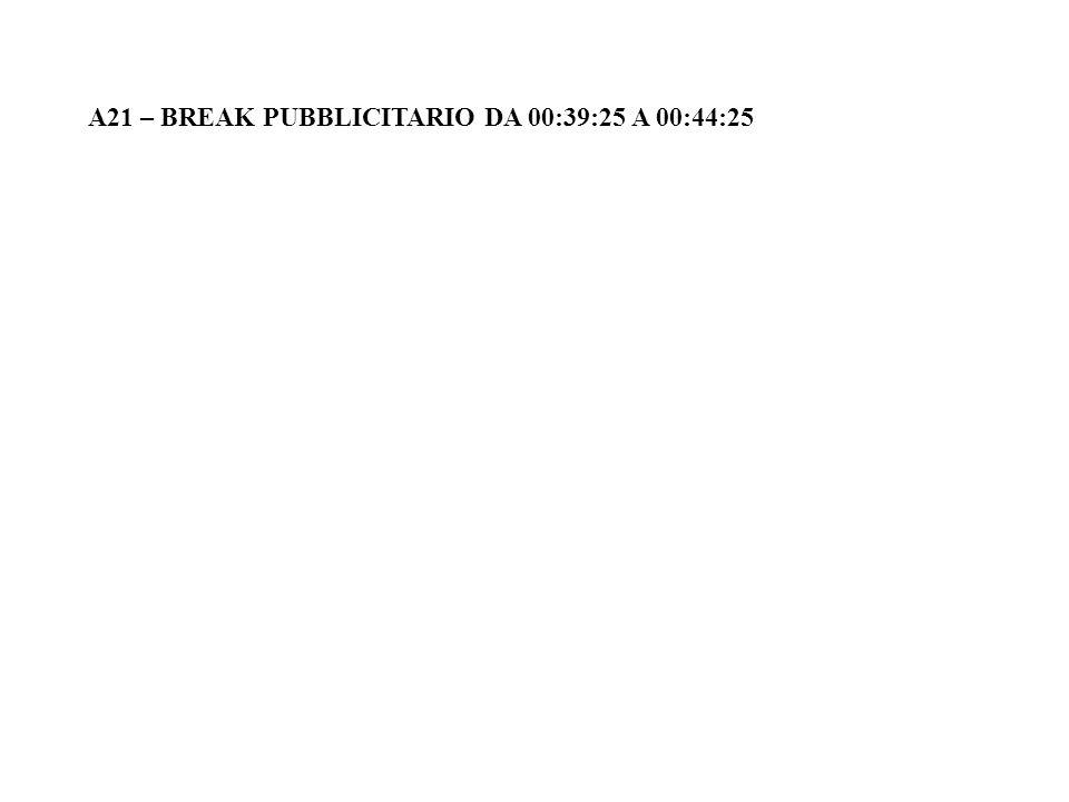 A21 – BREAK PUBBLICITARIO DA 00:39:25 A 00:44:25
