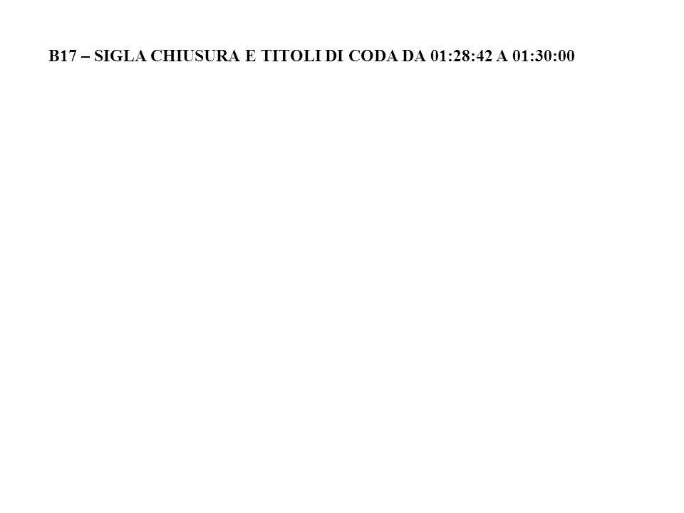 B17 – SIGLA CHIUSURA E TITOLI DI CODA DA 01:28:42 A 01:30:00