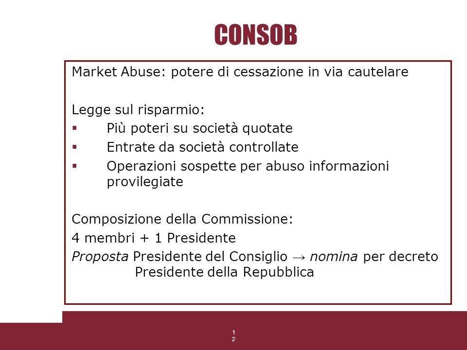 12 CONSOB Market Abuse: potere di cessazione in via cautelare Legge sul risparmio: Più poteri su società quotate Entrate da società controllate Operaz