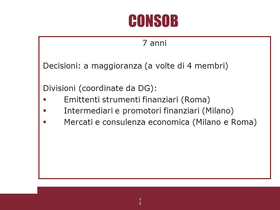 13 CONSOB 7 anni Decisioni: a maggioranza (a volte di 4 membri) Divisioni (coordinate da DG): Emittenti strumenti finanziari (Roma) Intermediari e pro