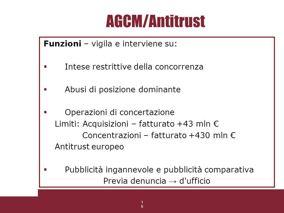 16 AGCM/Antitrust Funzioni – vigila e interviene su: Intese restrittive della concorrenza Abusi di posizione dominante Operazioni di concertazione Lim