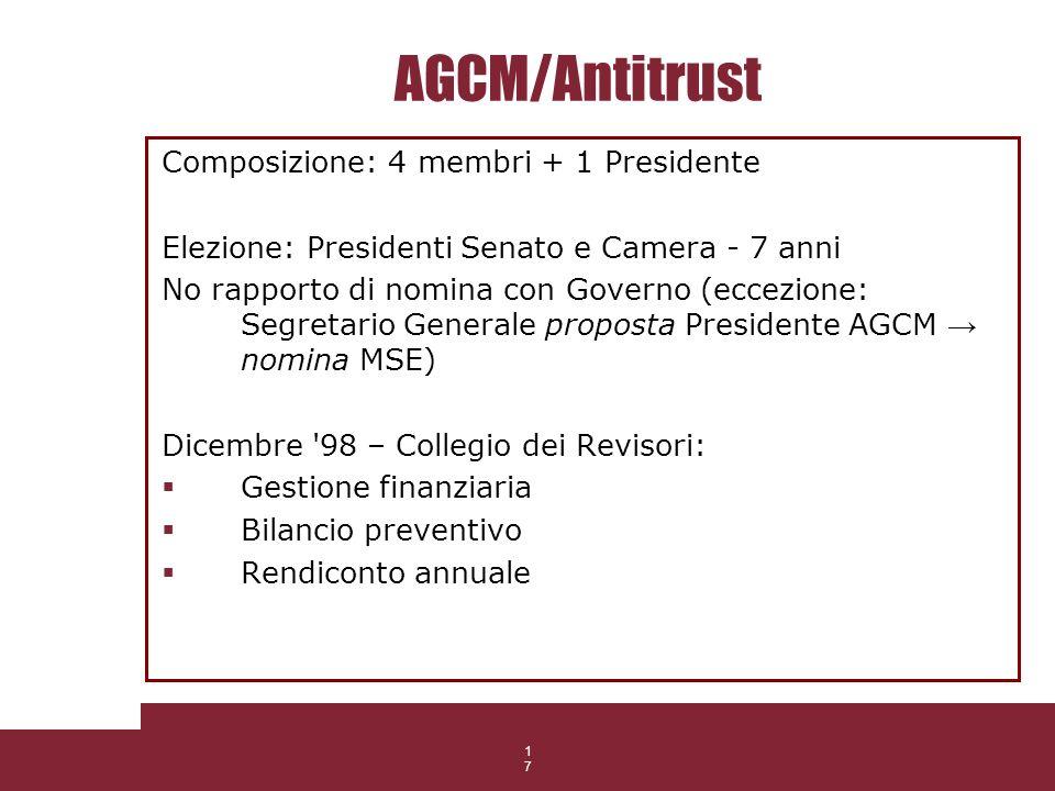 17 AGCM/Antitrust Composizione: 4 membri + 1 Presidente Elezione: Presidenti Senato e Camera - 7 anni No rapporto di nomina con Governo (eccezione: Se