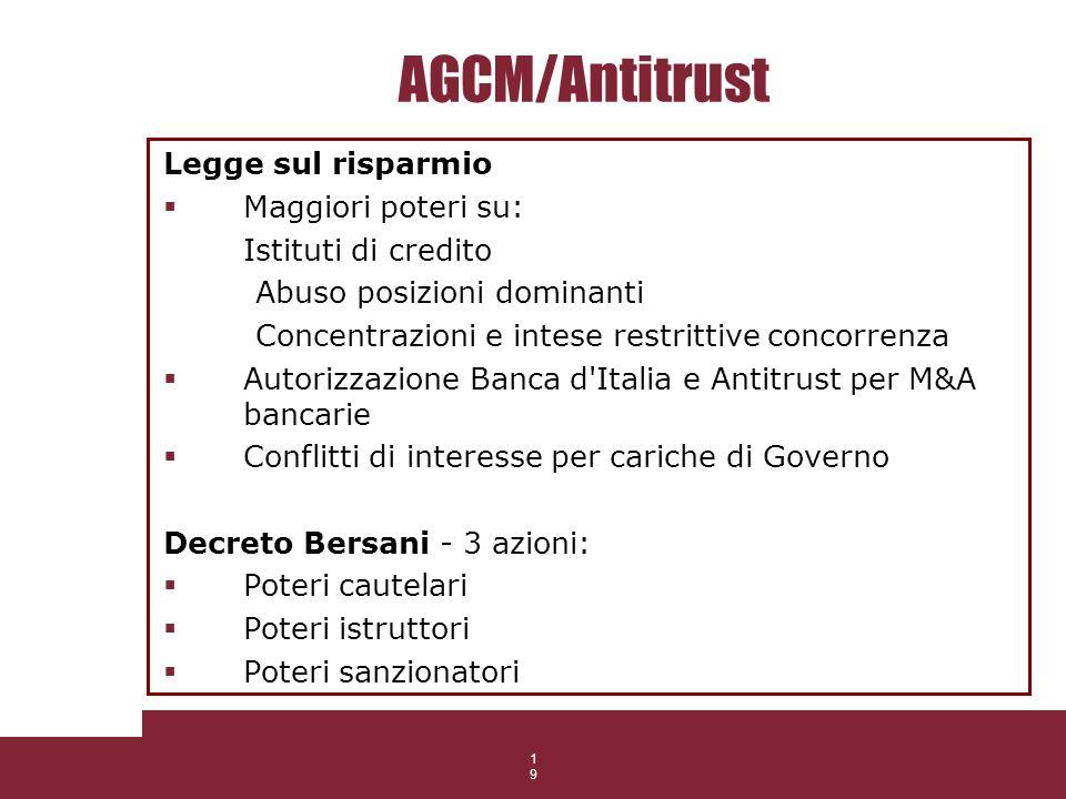 19 AGCM/Antitrust Legge sul risparmio Maggiori poteri su: Istituti di credito Abuso posizioni dominanti Concentrazioni e intese restrittive concorrenz