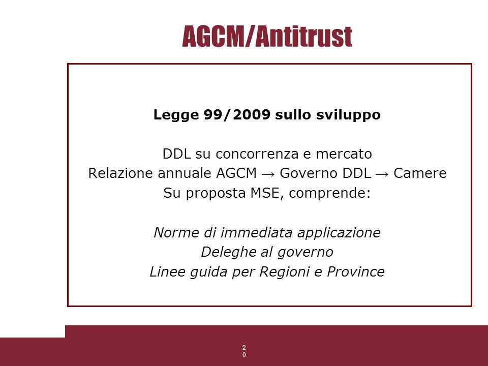 20 AGCM/Antitrust Legge 99/2009 sullo sviluppo DDL su concorrenza e mercato Relazione annuale AGCM Governo DDL Camere Su proposta MSE, comprende: Norm
