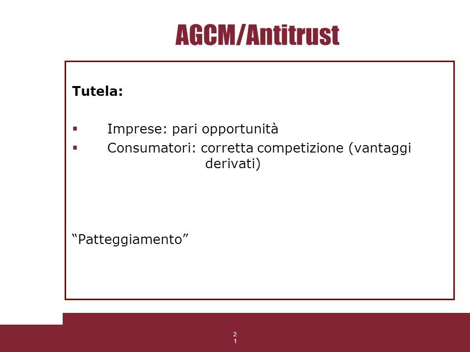 21 AGCM/Antitrust Tutela: Imprese: pari opportunità Consumatori: corretta competizione (vantaggi derivati) Patteggiamento 21 506/05/CONS
