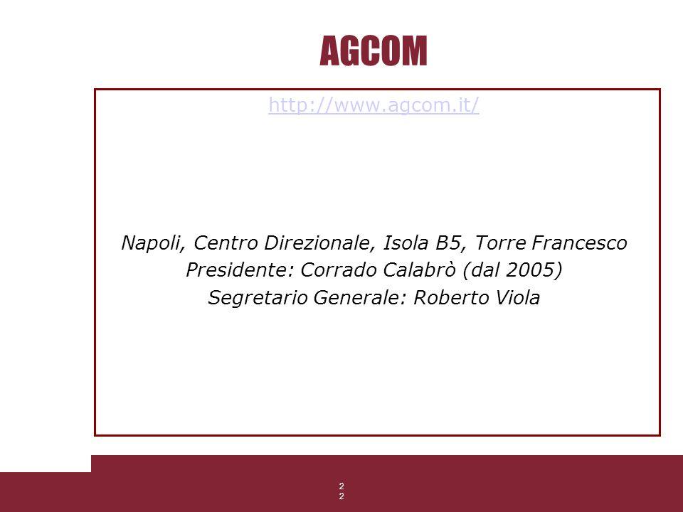 22 AGCOM http://www.agcom.it/ Napoli, Centro Direzionale, Isola B5, Torre Francesco Presidente: Corrado Calabrò (dal 2005) Segretario Generale: Robert