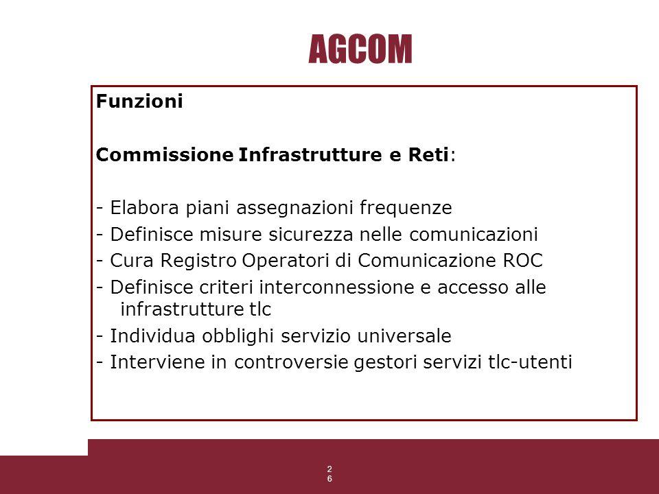 26 AGCOM Funzioni Commissione Infrastrutture e Reti: - Elabora piani assegnazioni frequenze - Definisce misure sicurezza nelle comunicazioni - Cura Re