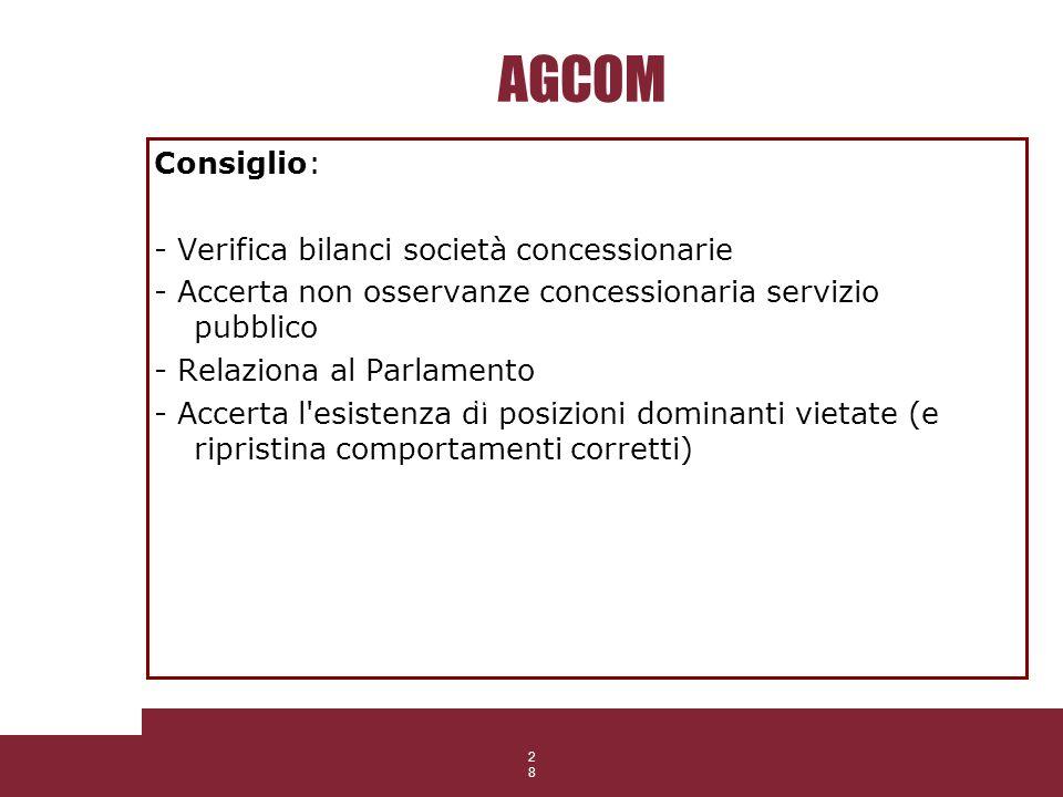 28 AGCOM Consiglio: - Verifica bilanci società concessionarie - Accerta non osservanze concessionaria servizio pubblico - Relaziona al Parlamento - Ac