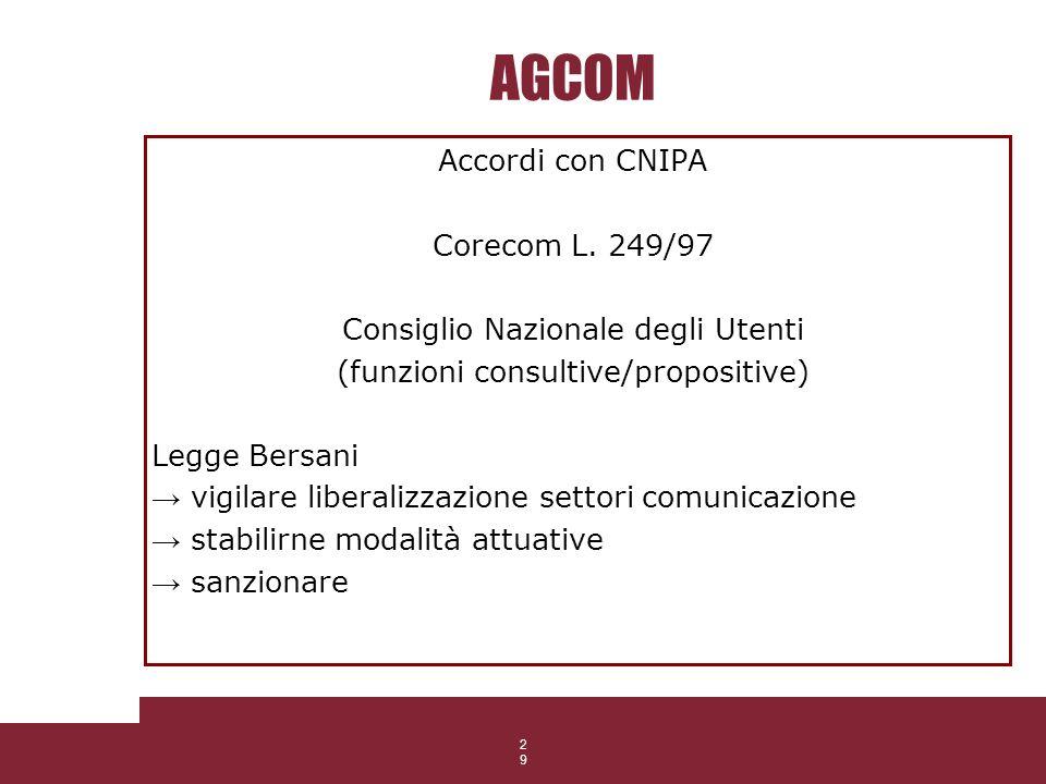 29 AGCOM Accordi con CNIPA Corecom L. 249/97 Consiglio Nazionale degli Utenti (funzioni consultive/propositive) Legge Bersani vigilare liberalizzazion