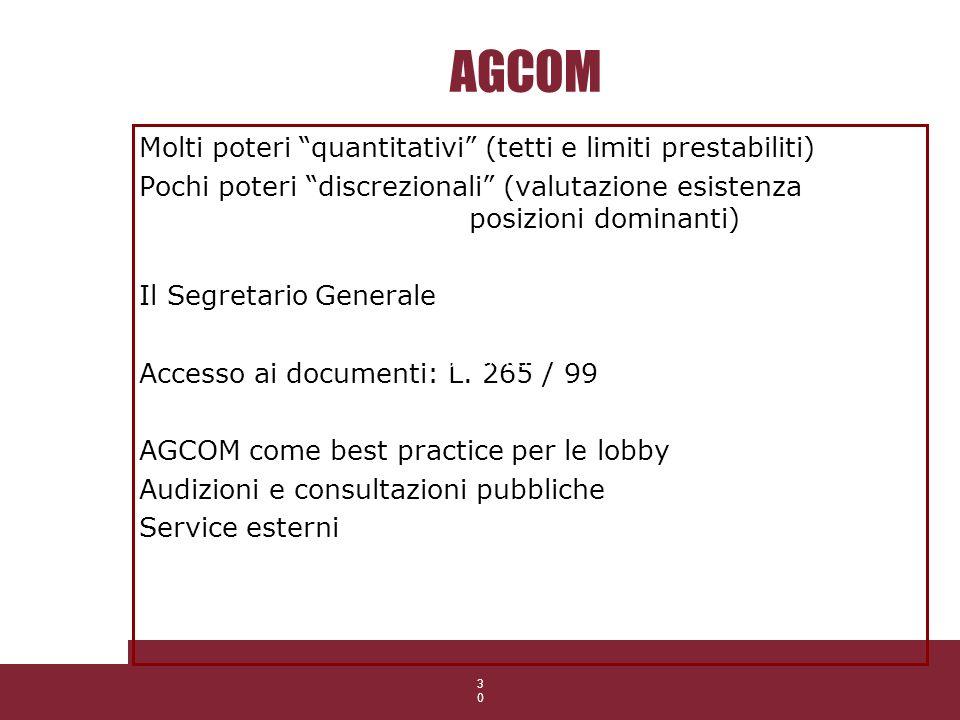 30 AGCOM Molti poteri quantitativi (tetti e limiti prestabiliti) Pochi poteri discrezionali (valutazione esistenza posizioni dominanti) Il Segretario