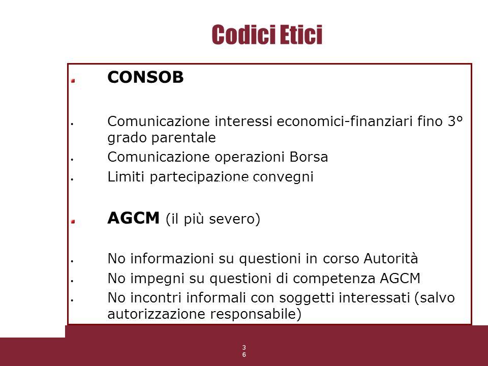 36 Codici Etici CONSOB Comunicazione interessi economici-finanziari fino 3° grado parentale Comunicazione operazioni Borsa Limiti partecipazione conve