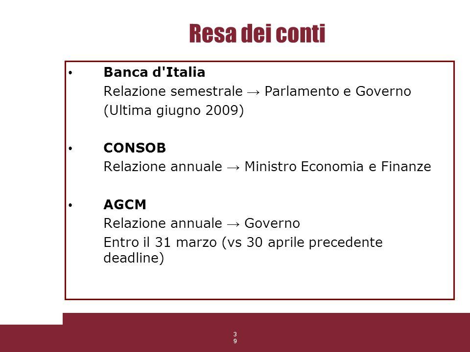 39 Resa dei conti Banca d'Italia Relazione semestrale Parlamento e Governo (Ultima giugno 2009) CONSOB Relazione annuale Ministro Economia e Finanze A