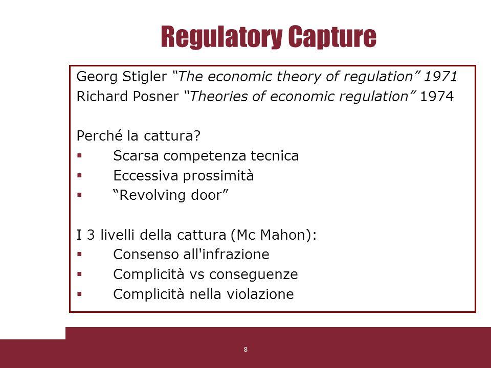 8 Regulatory Capture Georg Stigler The economic theory of regulation 1971 Richard Posner Theories of economic regulation 1974 Perché la cattura? Scars