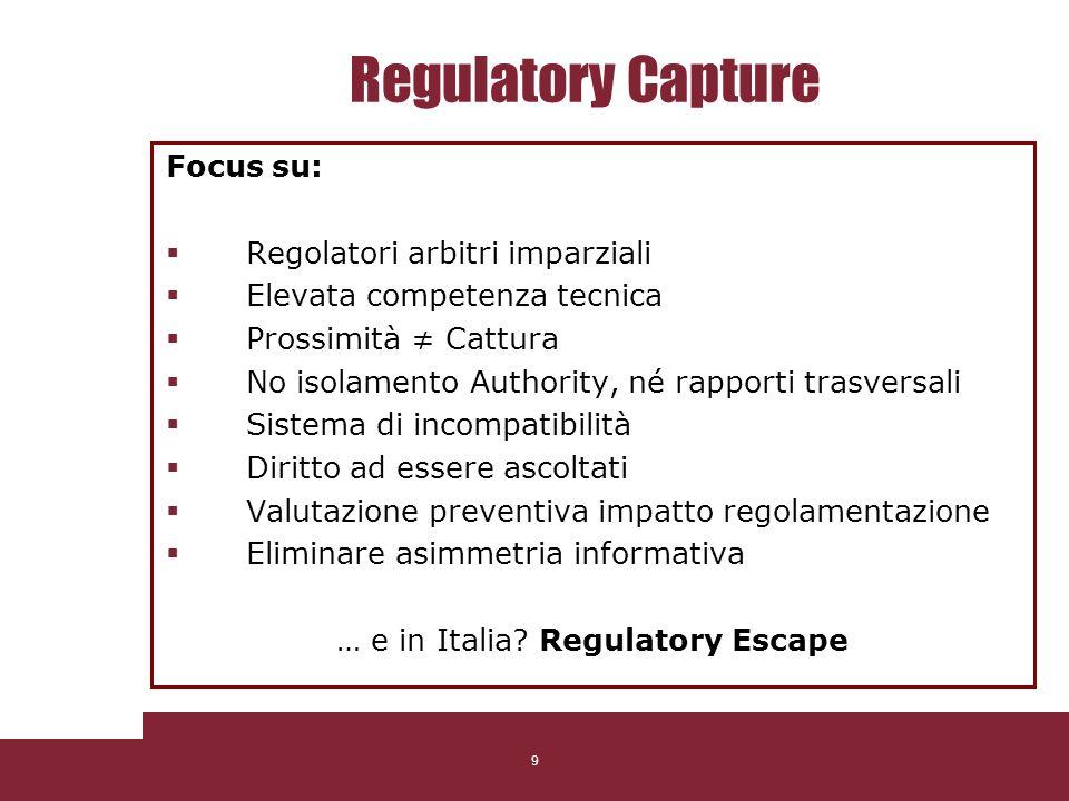9 Regulatory Capture Focus su: Regolatori arbitri imparziali Elevata competenza tecnica Prossimità Cattura No isolamento Authority, né rapporti trasve
