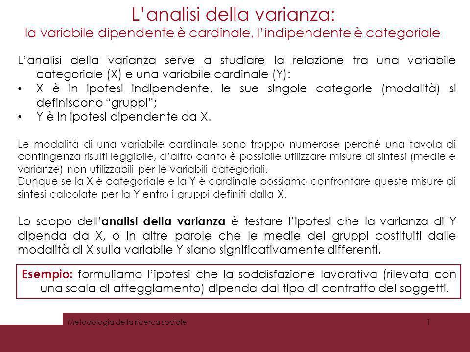 Lanalisi della varianza: la variabile dipendente è cardinale, lindipendente è categoriale Metodologia della ricerca sociale1 Lanalisi della varianza s