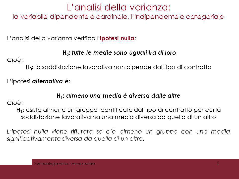 Lanalisi della varianza: la variabile dipendente è cardinale, lindipendente è categoriale Metodologia della ricerca sociale2 Lanalisi della varianza v