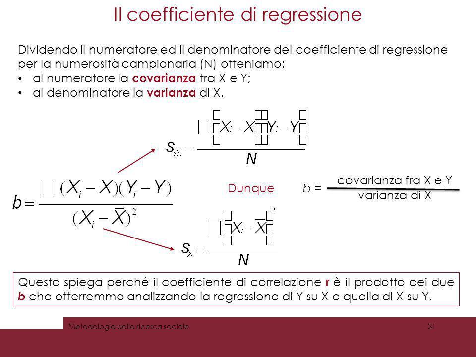 Il coefficiente di regressione Metodologia della ricerca sociale31 Dividendo il numeratore ed il denominatore del coefficiente di regressione per la n