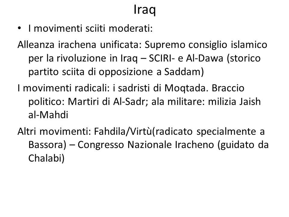 Iraq I movimenti sciiti moderati: Alleanza irachena unificata: Supremo consiglio islamico per la rivoluzione in Iraq – SCIRI- e Al-Dawa (storico parti