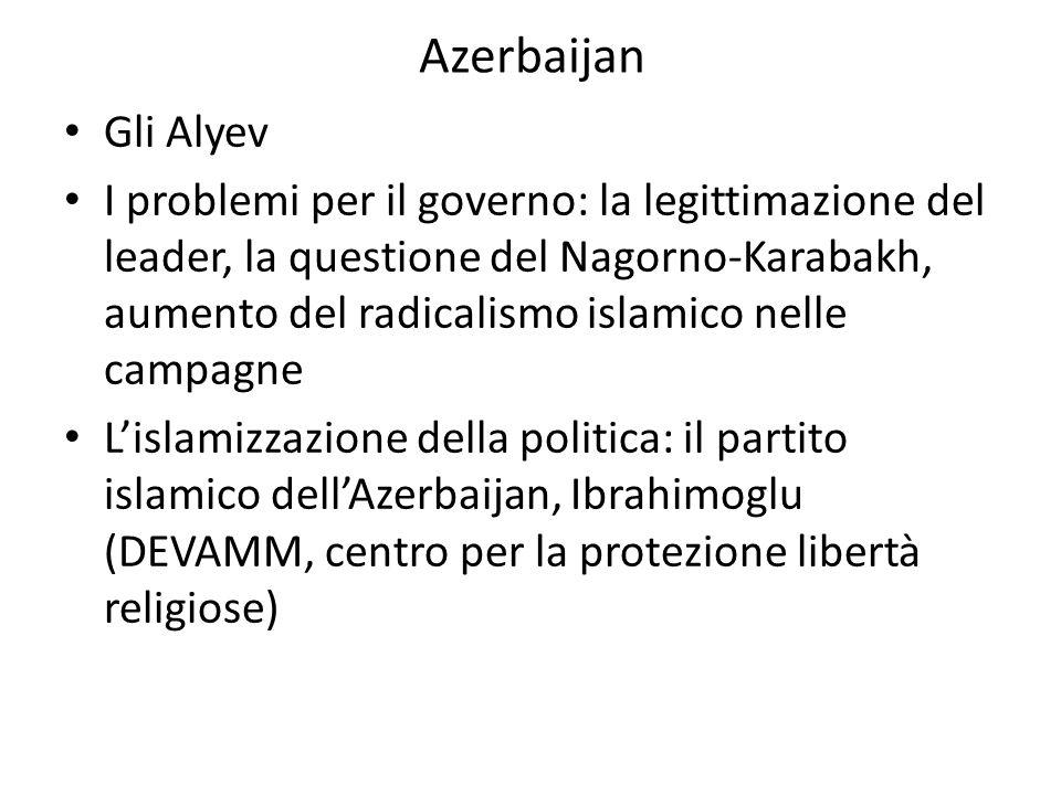Azerbaijan Gli Alyev I problemi per il governo: la legittimazione del leader, la questione del Nagorno-Karabakh, aumento del radicalismo islamico nell